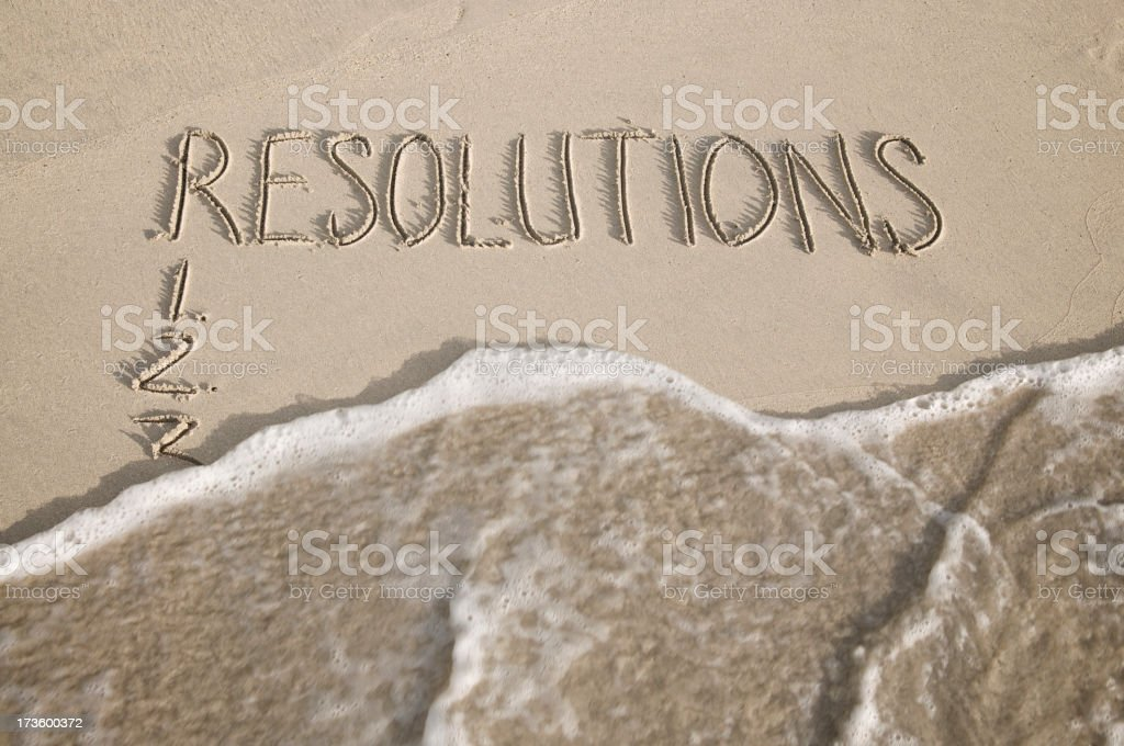 New Year Resolutions Wiped Away Message on Smooth Sand Beach royalty-free stock photo
