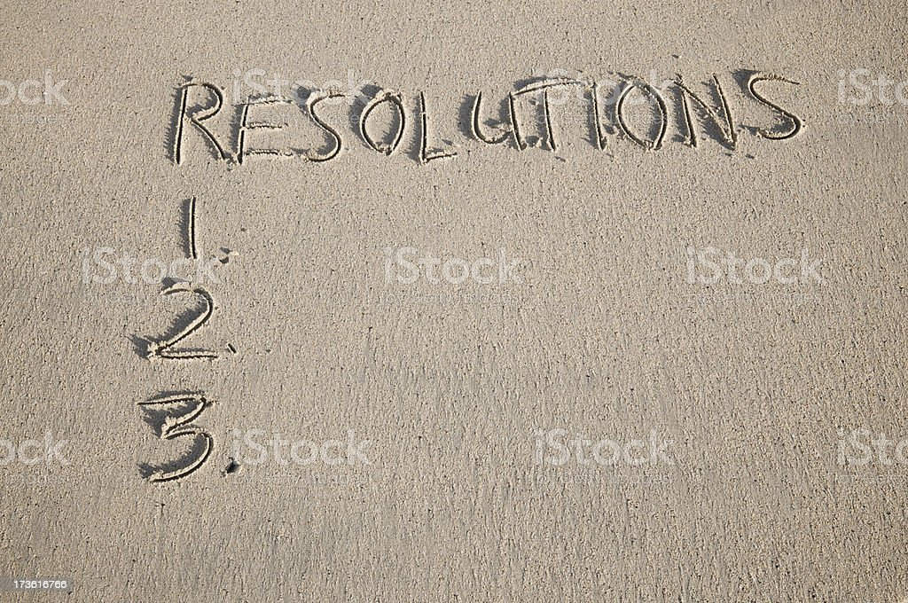 New Year Resolutions Written in Sand on Smooth Beach royalty-free stock photo