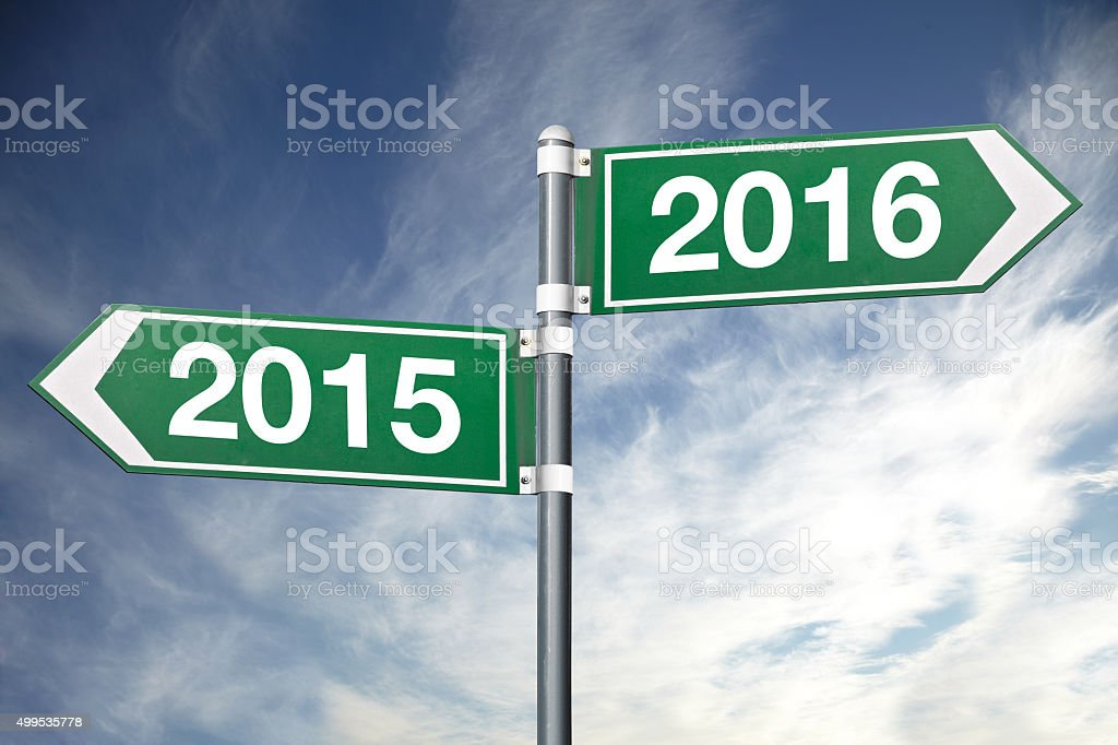 New year road sign stock photo