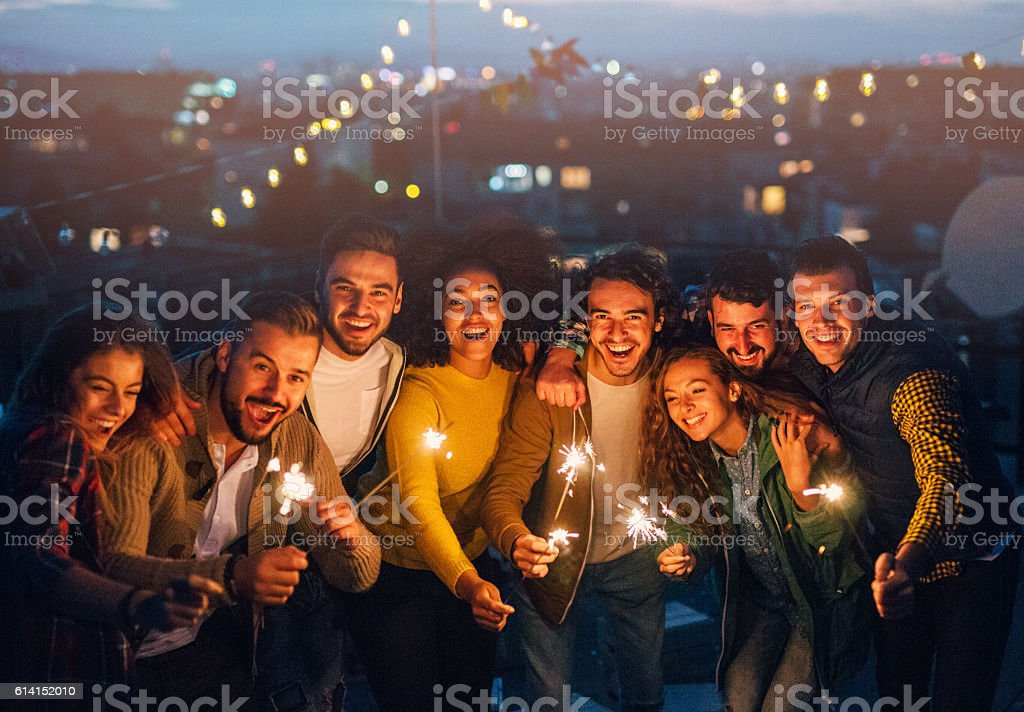 New year roof party stock photo