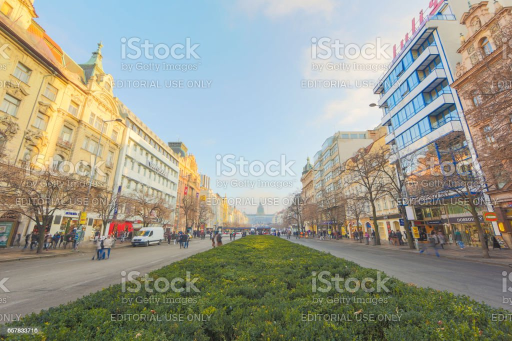 New Year SHopping on Wenceslas Square  in Prague stock photo
