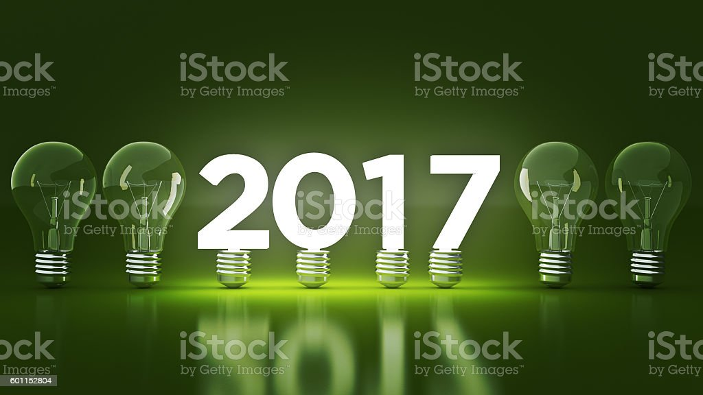 2017 New Year sign inside light bulbs. 3D rendering stock photo