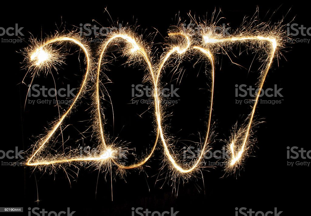 new year sparkler stock photo