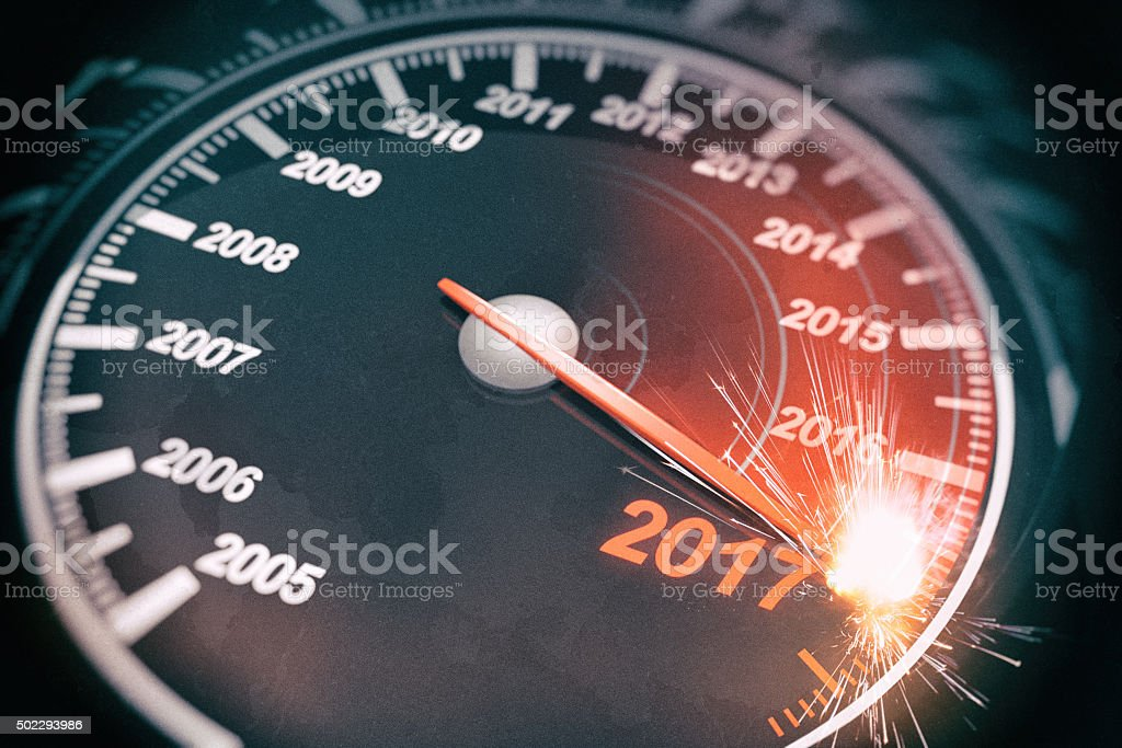 New Year Speedometer sparking at 2017 stock photo