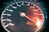 New Year Speedometer sparking at 2017