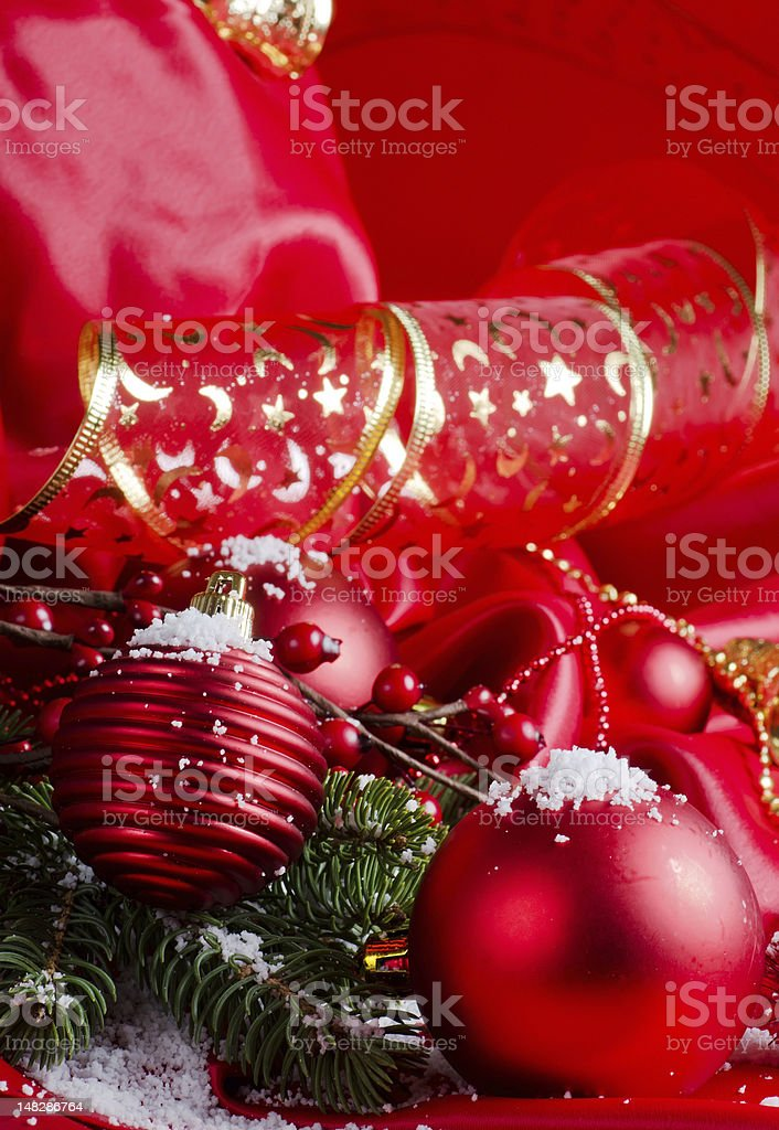 New Year spheres on a red fabric royalty-free stock photo