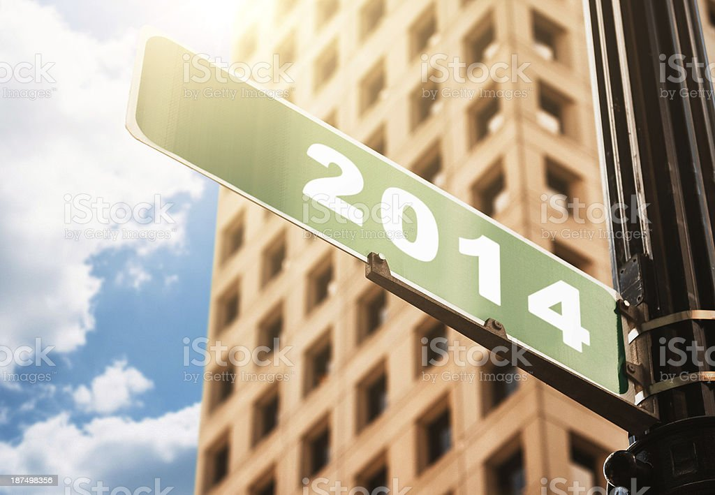 2014 new year street sign royalty-free stock photo