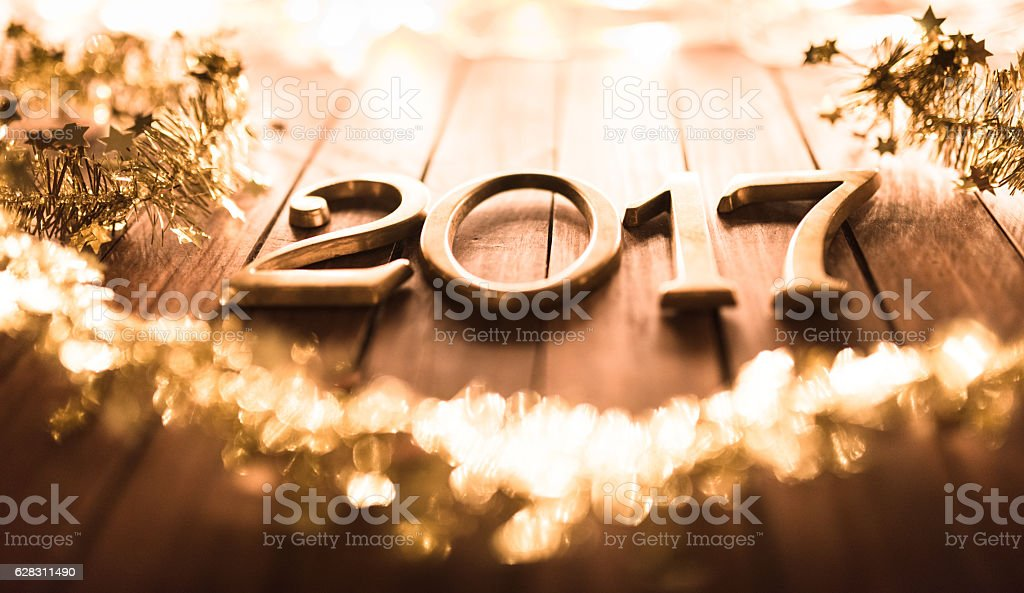 2017 new year text on a plank wood stock photo