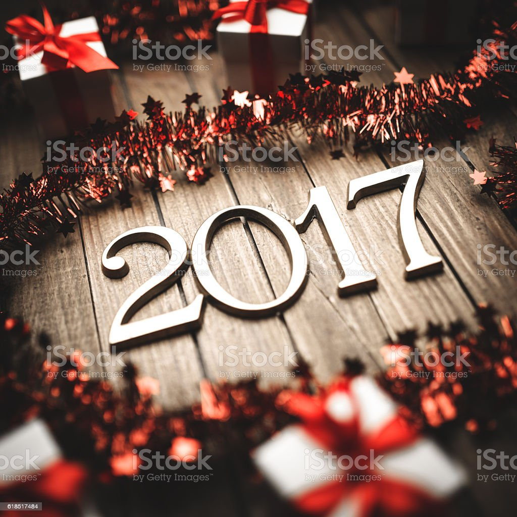 2017 New year text on christmas decoration stock photo