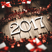 2017 New year text on christmas decoration