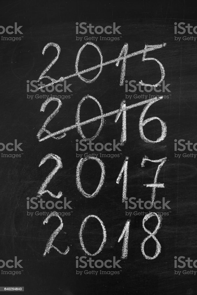New Year timeline on blackboard. stock photo