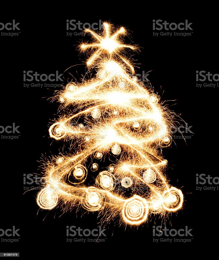 New year tree created from sparks royalty-free stock photo