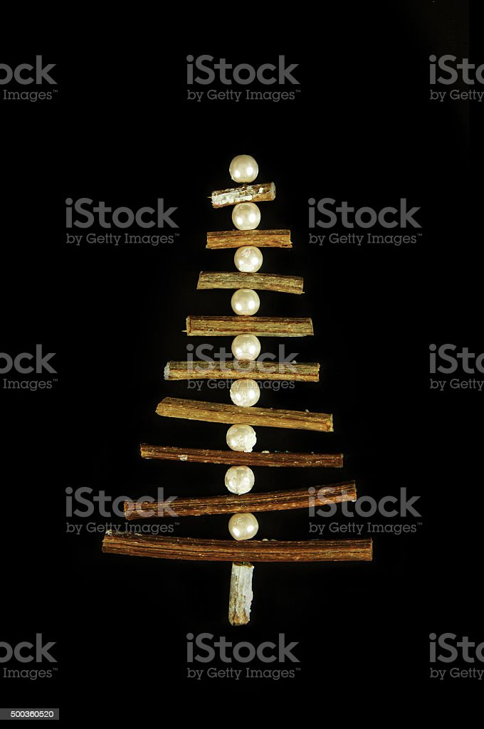 New year tree decorations made of sticks stock photo