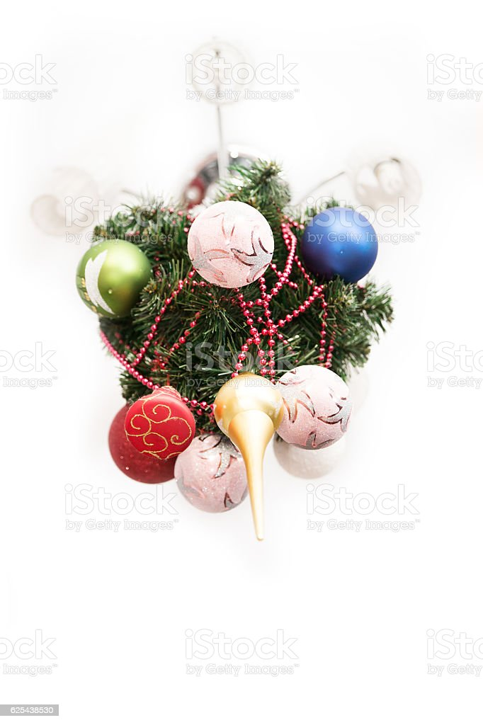 new year tree on ceiling. Unusual holiday. very beautiful stock photo