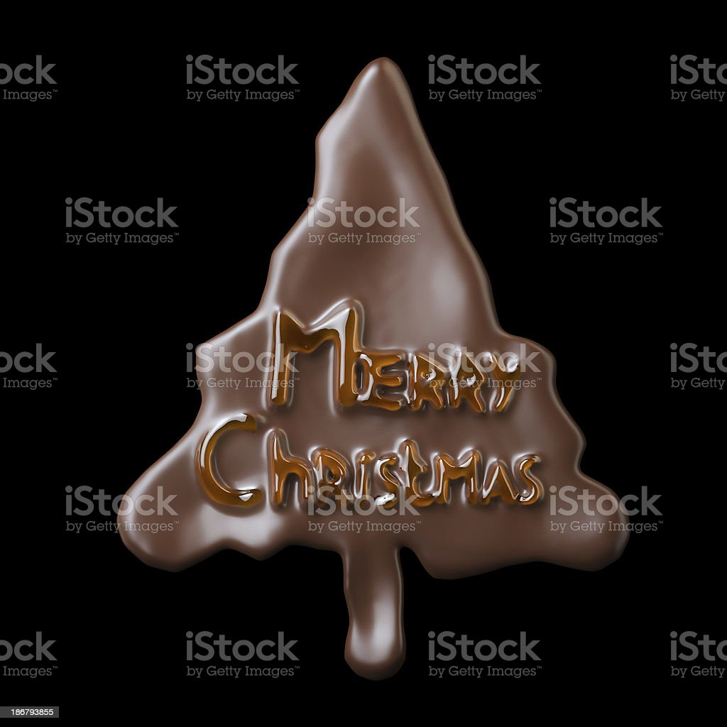 New Year Tree Shaped Chocolate Cookie Merry Christmas Lettering stock photo