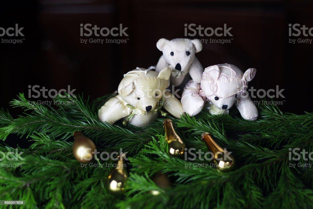 New Year tree toy bears stock photo