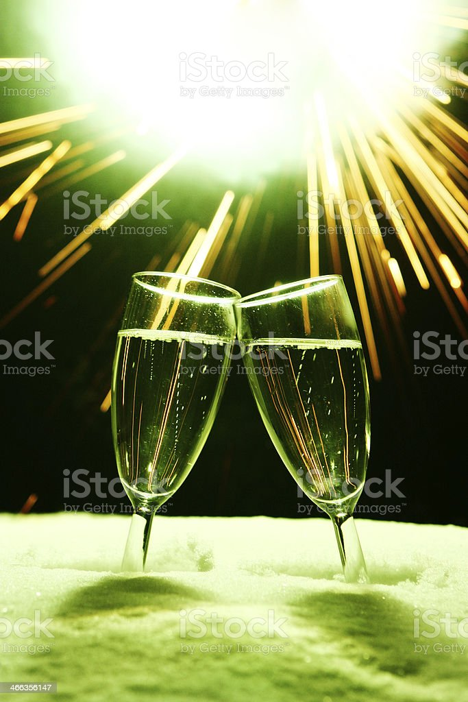 New year  two glasses champagne clinking stock photo