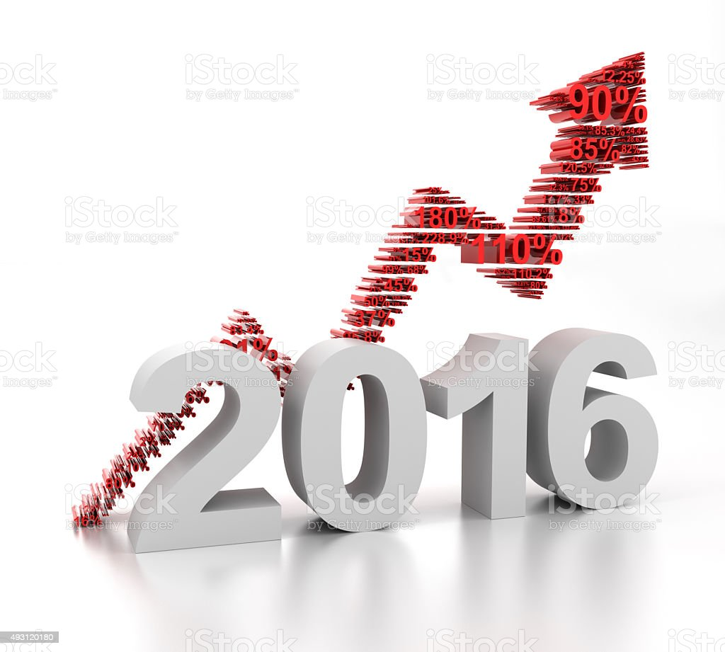 New year upward arrow, 3d render stock photo