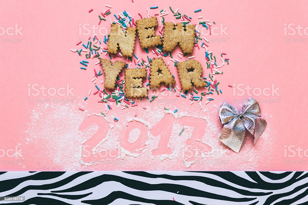 'New Year' with confetti stock photo