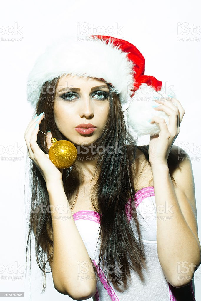 New year woman with ball stock photo