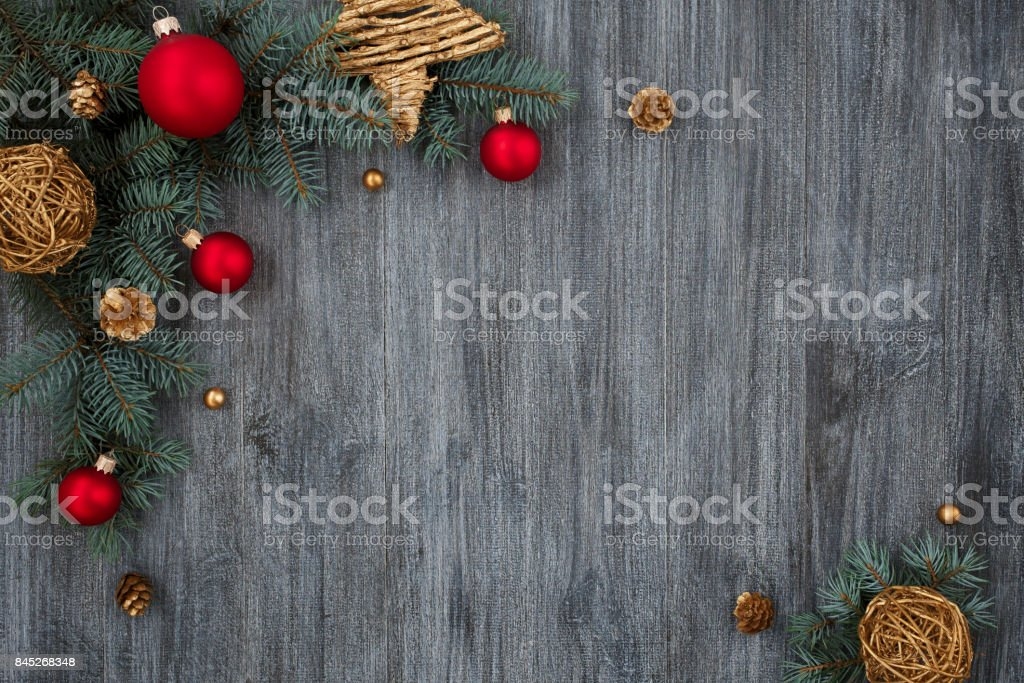 New Year, wooden table, spruce, christmas balls stock photo