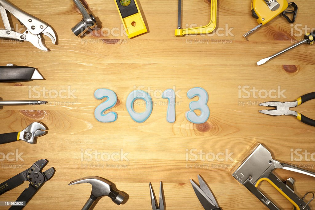 New years 2013 and work tools background stock photo