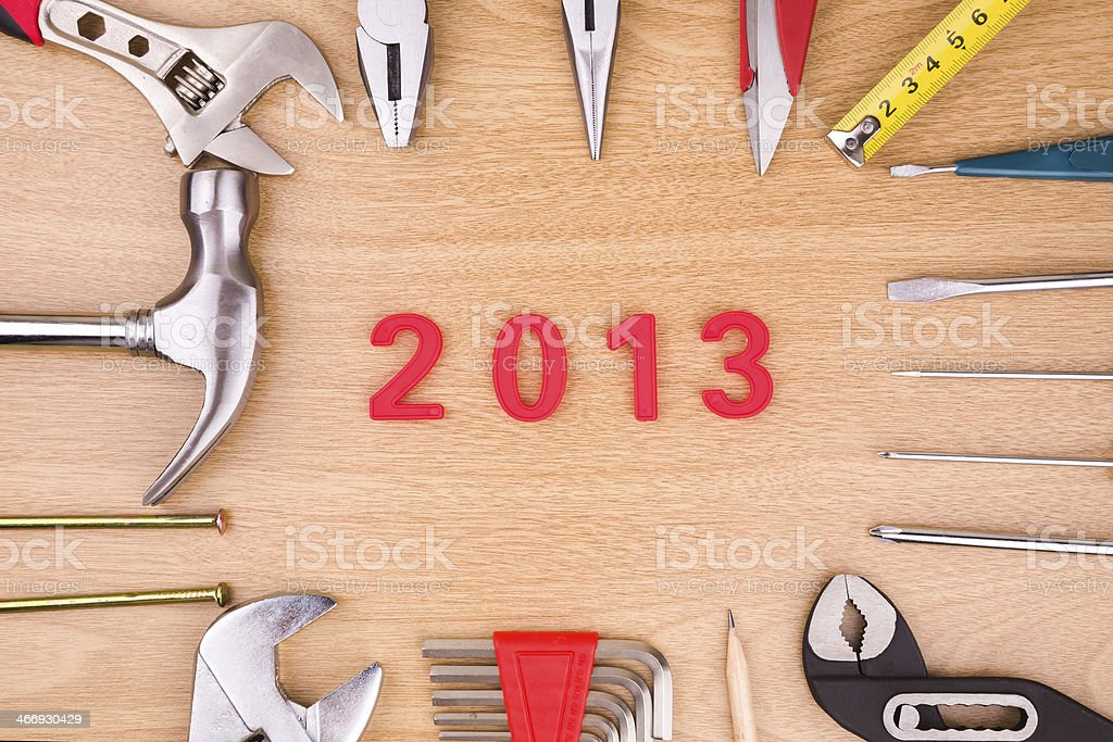 New years 2013 and work tools background royalty-free stock photo