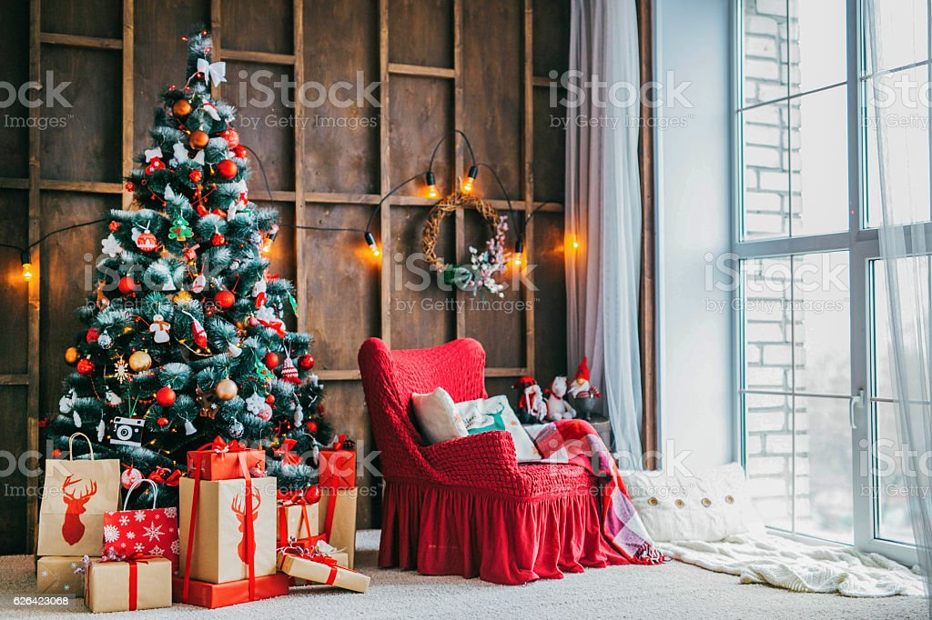 New Year's and Christmas interior stock photo