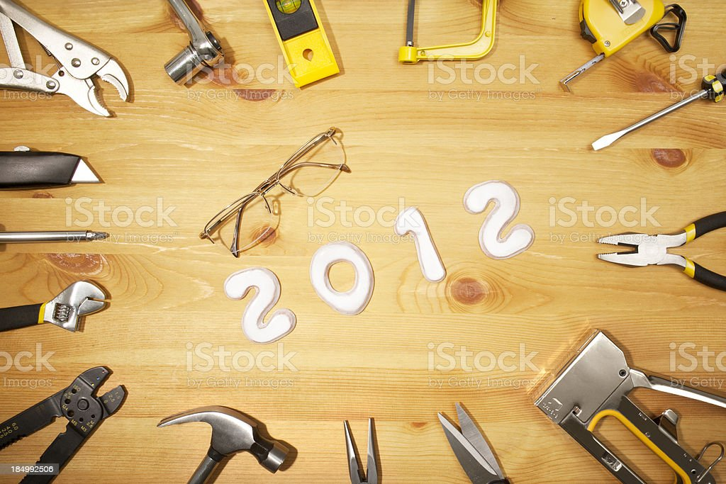 New years and work tools stock photo
