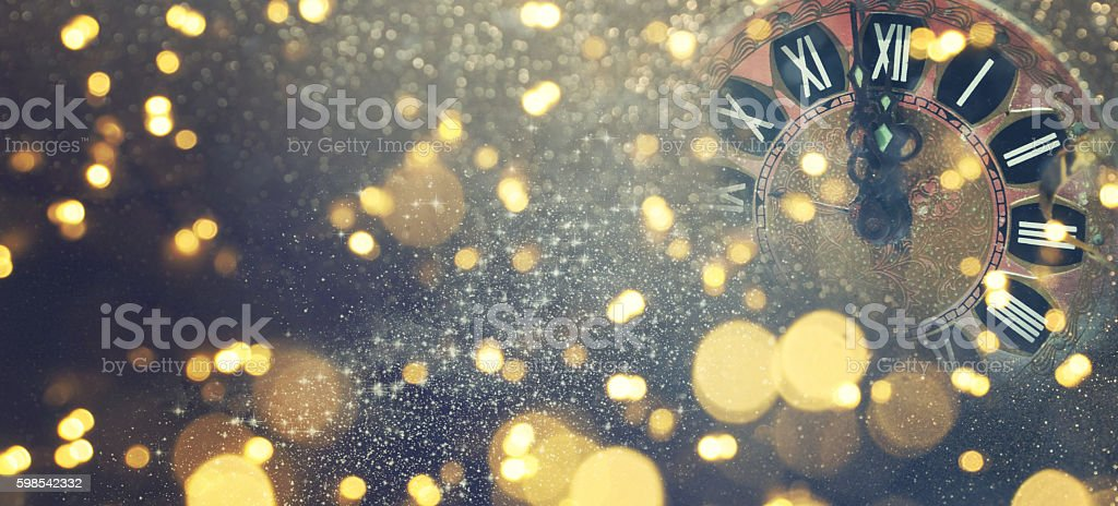 New Years blurred background with clock stock photo