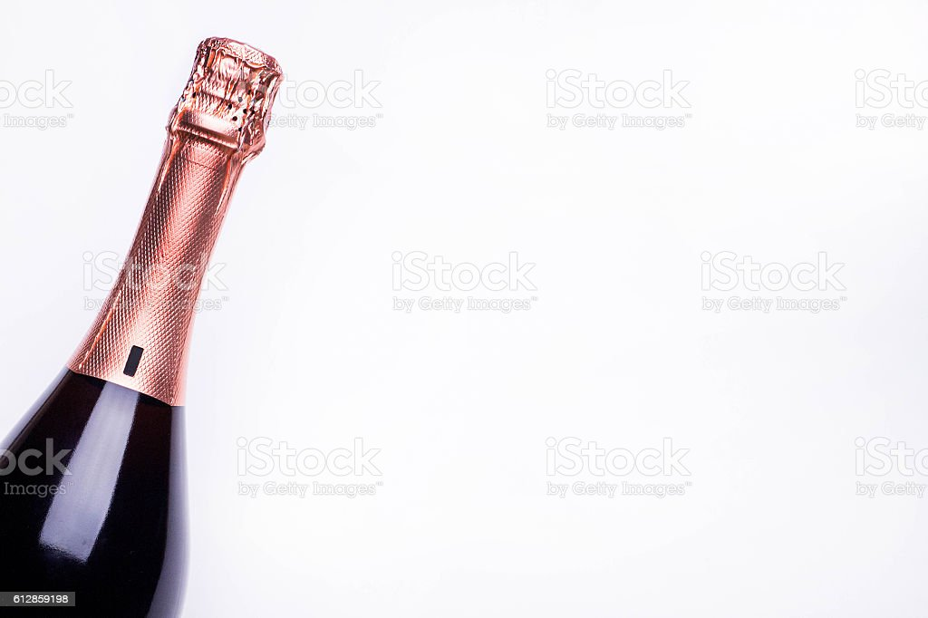 New Year's champagne bottle on white background stock photo