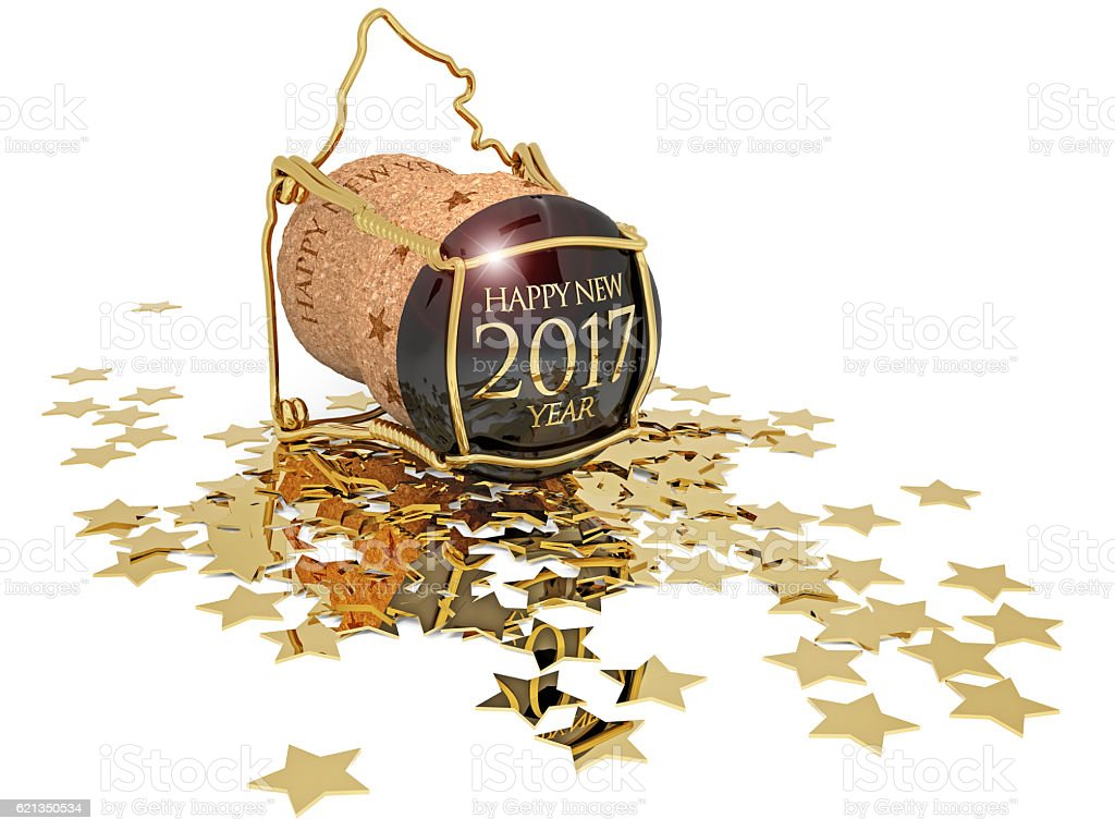 new year's champagne cork and golden stars stock photo