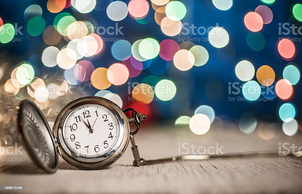 New Year's clock at midnight stock photo