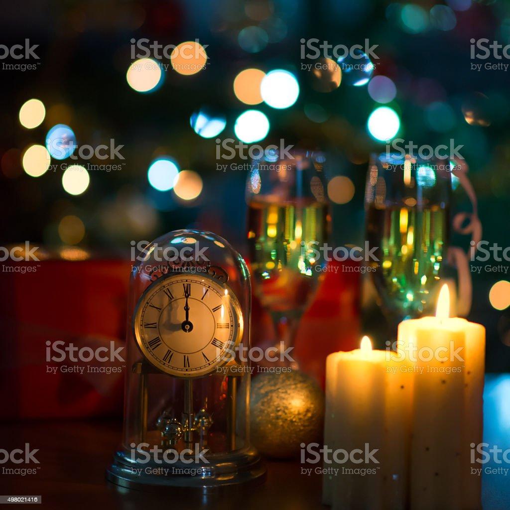 New Year's clock at midnight stock photo