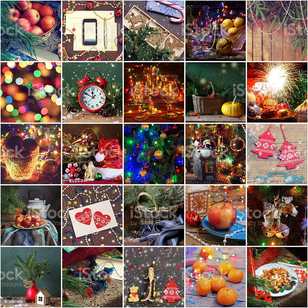 New Year's collage. Christmas background. stock photo