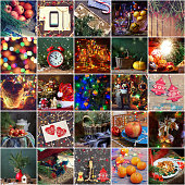 New Year's collage. Christmas background.