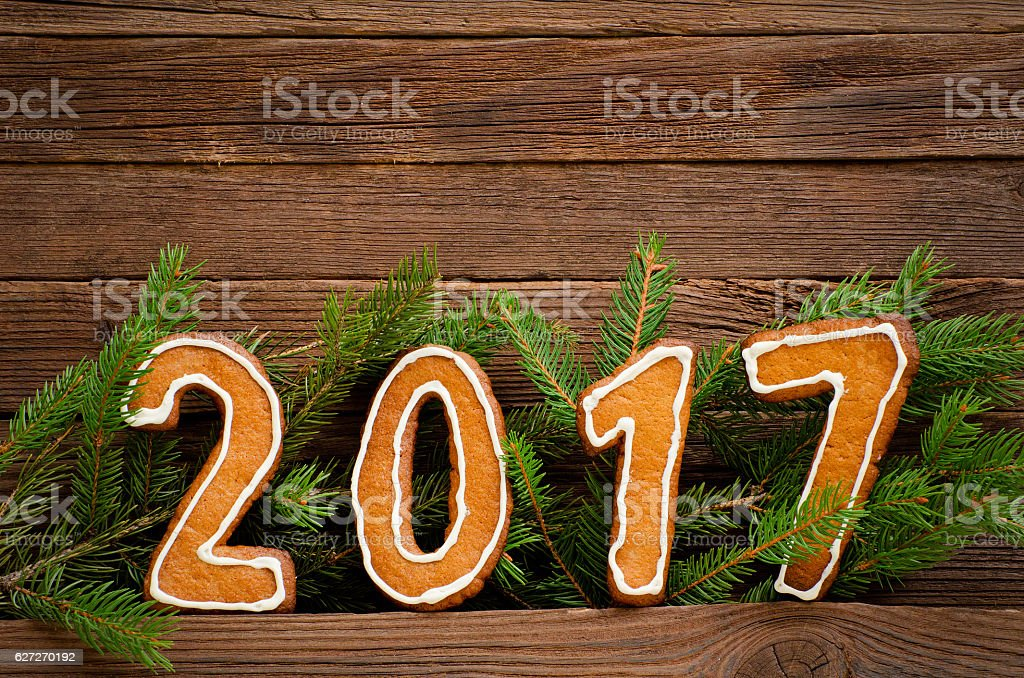 New Year's concept. Figure 2017 from gingerbread stock photo