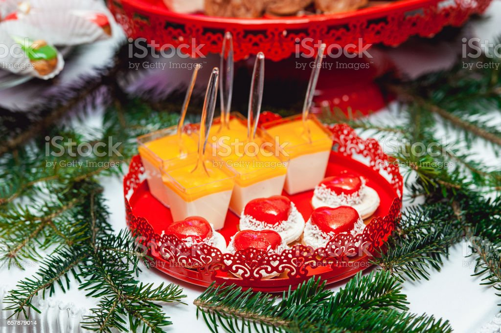 New Year's concept. heart shaped cookies, white background stock photo