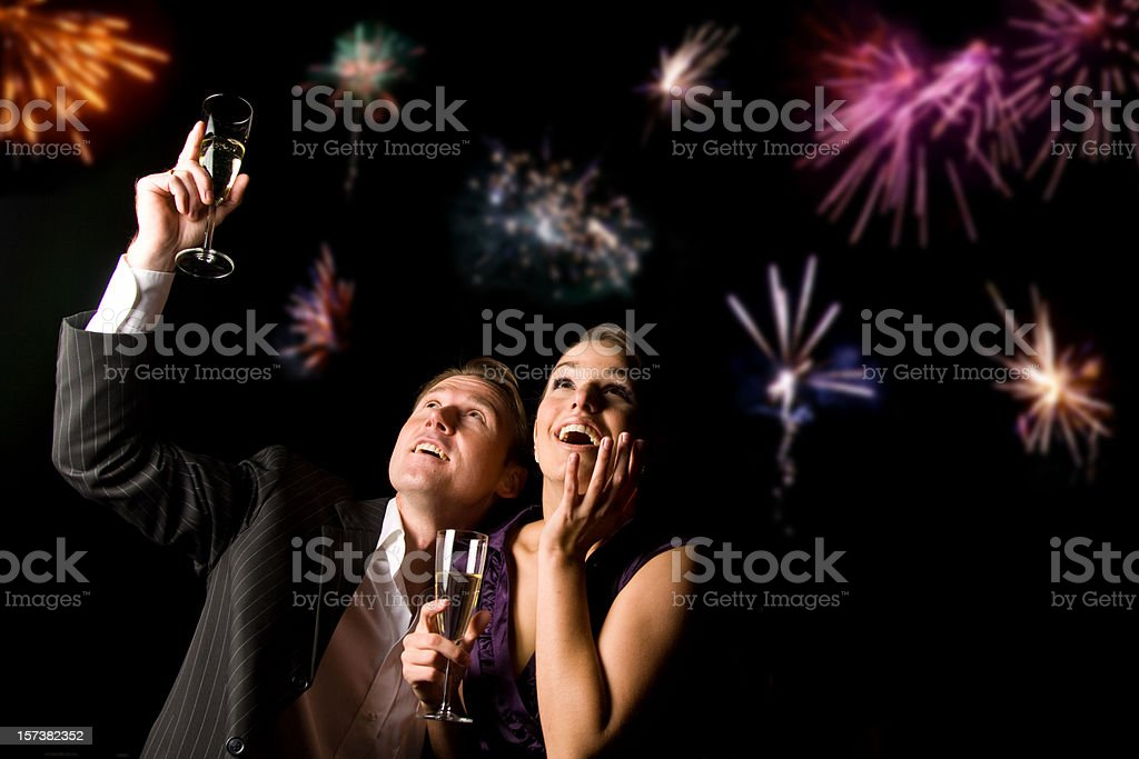 new year's couple stock photo
