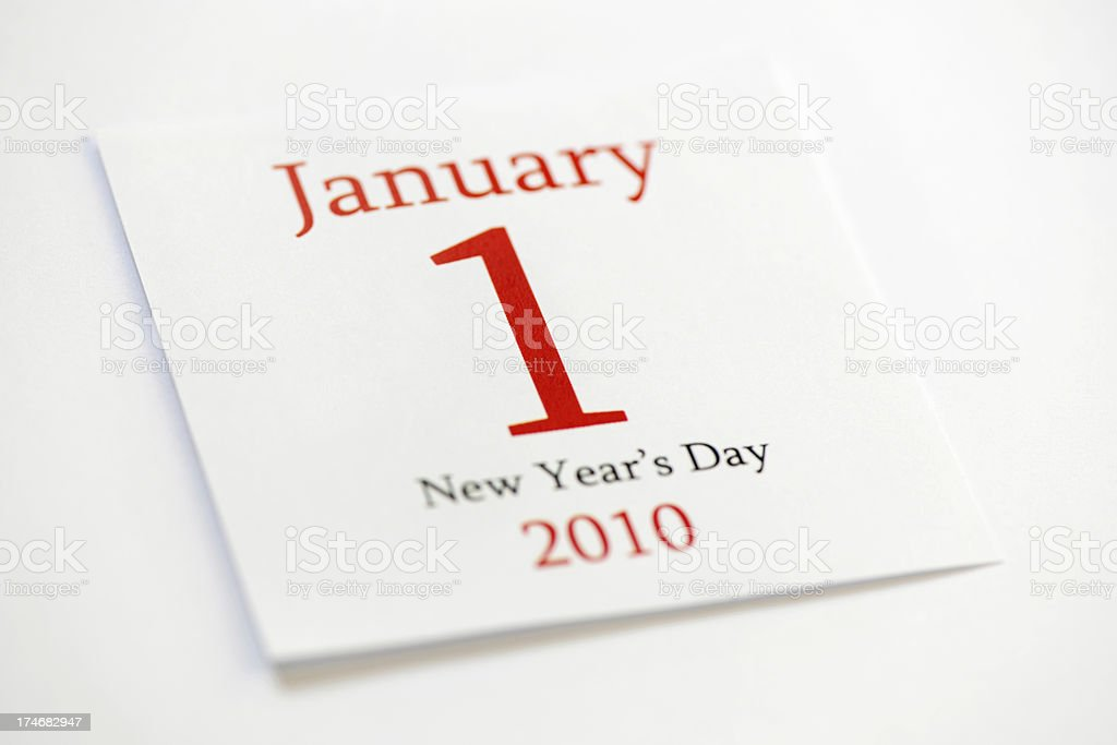 New Years Day 2010 January 1st calendar page royalty-free stock photo