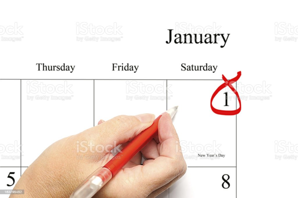 new year's day calendar entry royalty-free stock photo