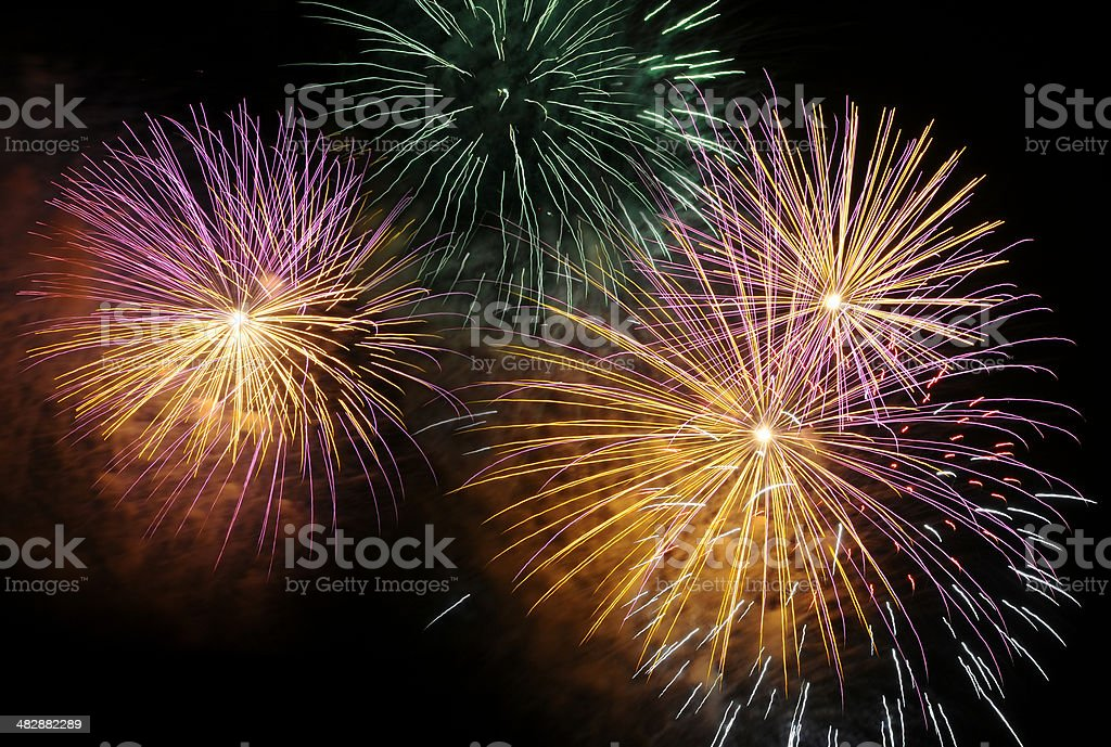 New Year's Day, Independence Day, colorful fireworks isolated on black stock photo
