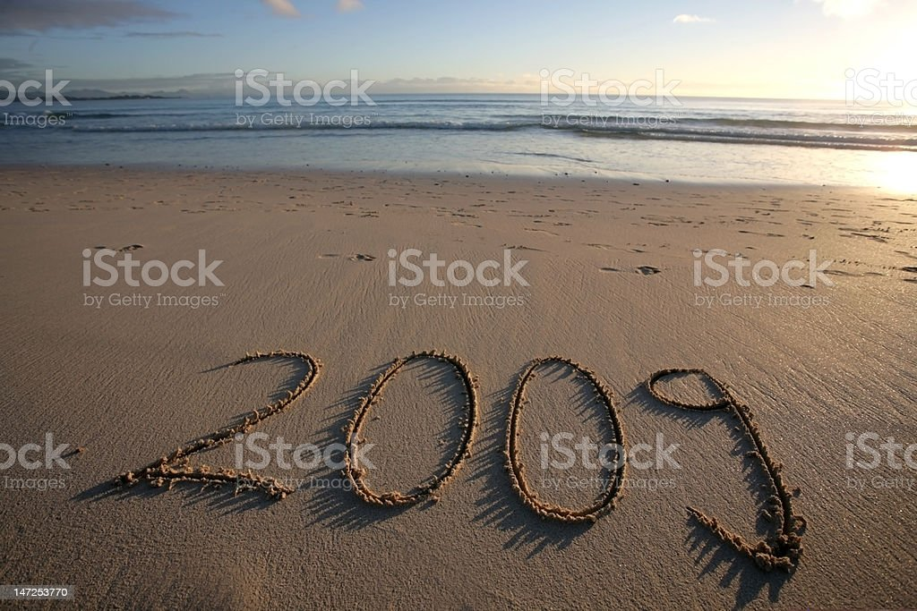New Year's Eve 2009 at beach stock photo