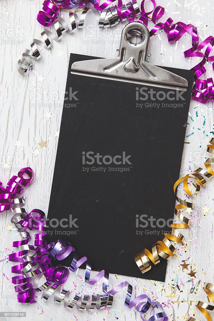 New Years Eve Background with white card stock photo