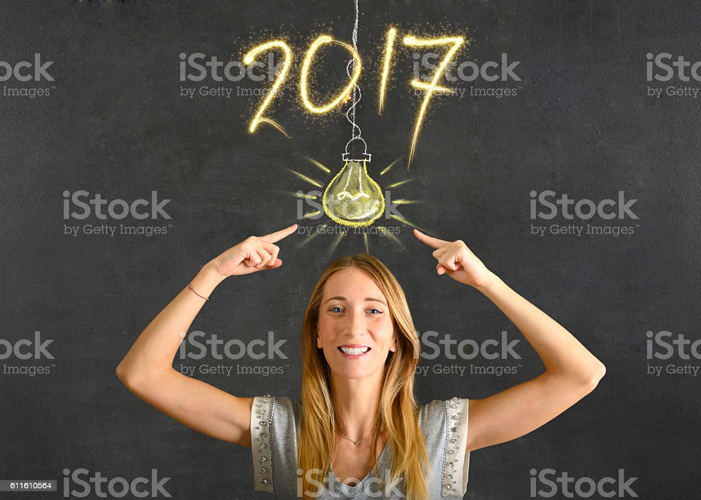 New Year's Eve concept on blackboard stock photo