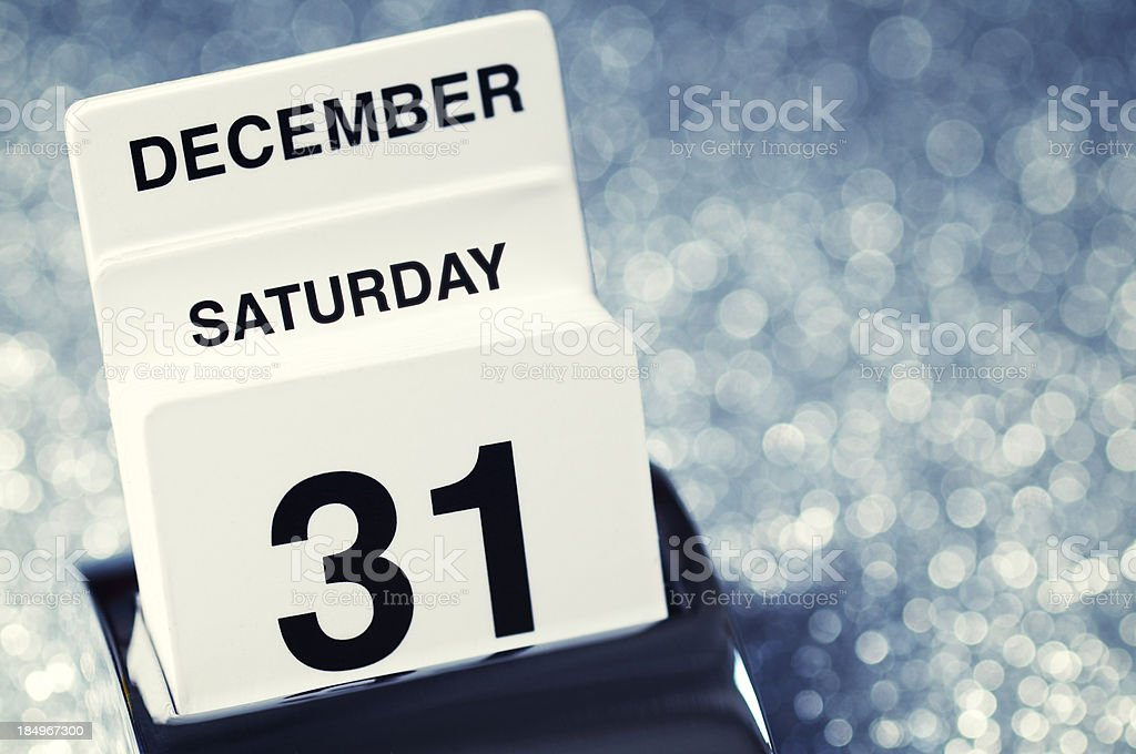 New Year's Eve December 31 Calendar Party Reminder Sparkly Background royalty-free stock photo