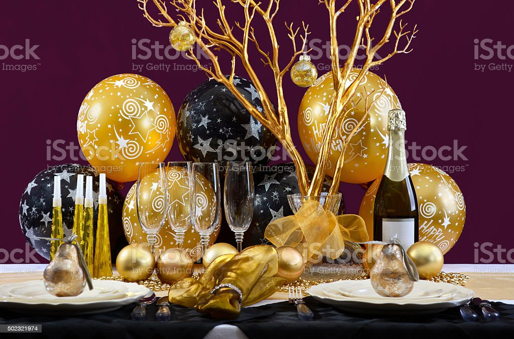 New Years Eve Dinner Table Setting. stock photo