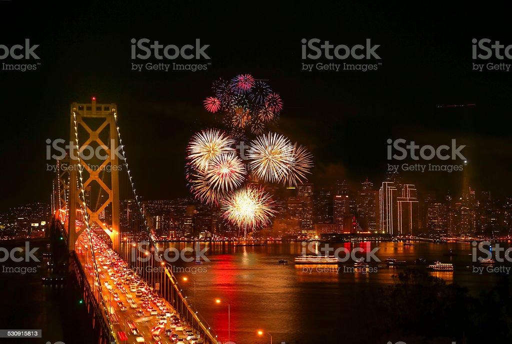 New Year's Eve Firework at San Francisco stock photo