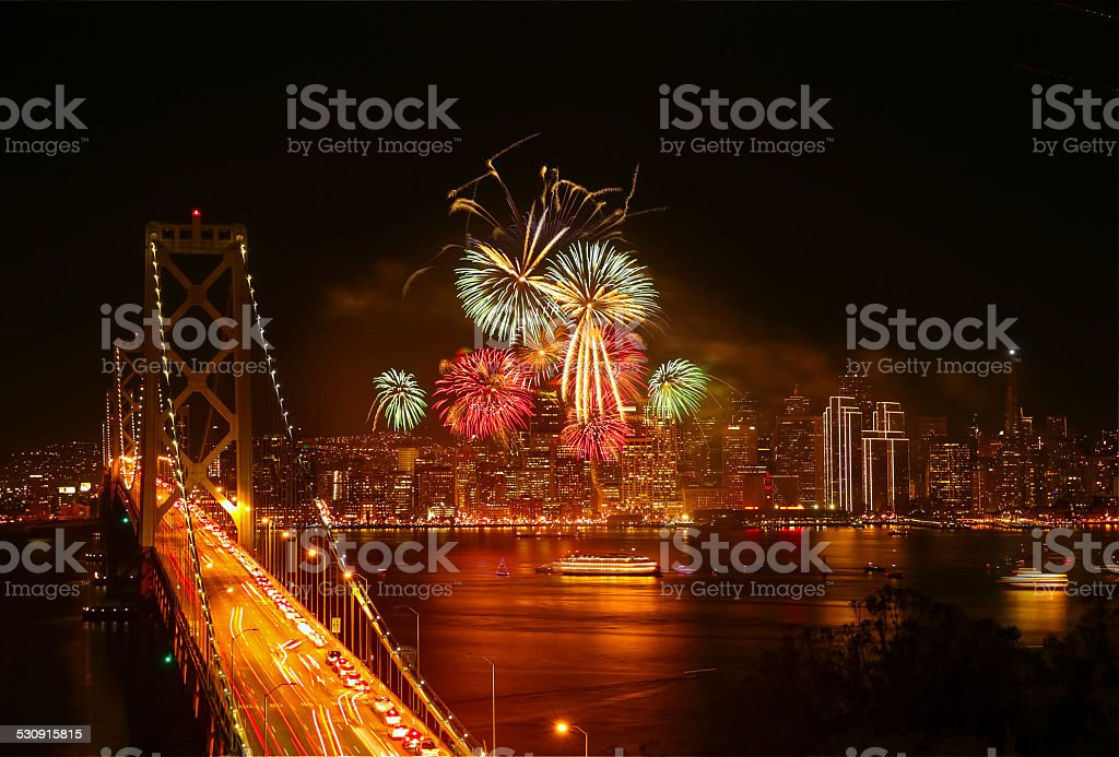 New Year's Eve Firework at San Francisco stock photo