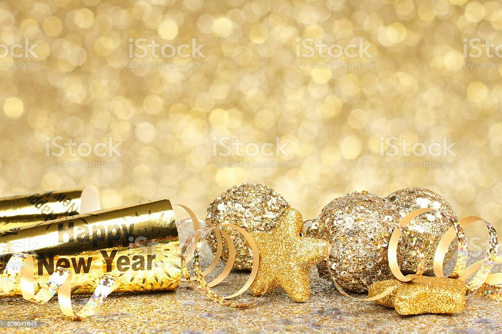 New Years Eve golden party background stock photo